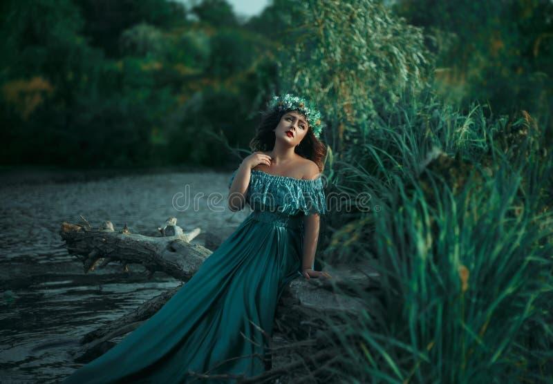 Bruja de lujo en un vestido del verde largo para el lago imagenes de archivo