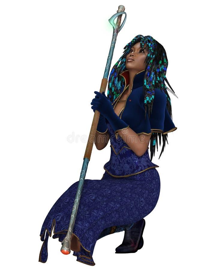 Bruja de sexo femenino negra con el personal mágico - arrodillándose ilustración del vector