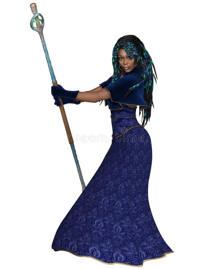 Bruja de sexo femenino negra con el personal mágico - vista lateral ilustración del vector