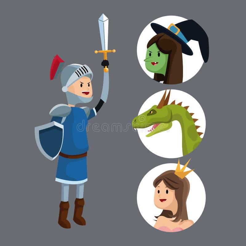 Bruja del dragón de la princesa del escudo de la espada del caballero stock de ilustración