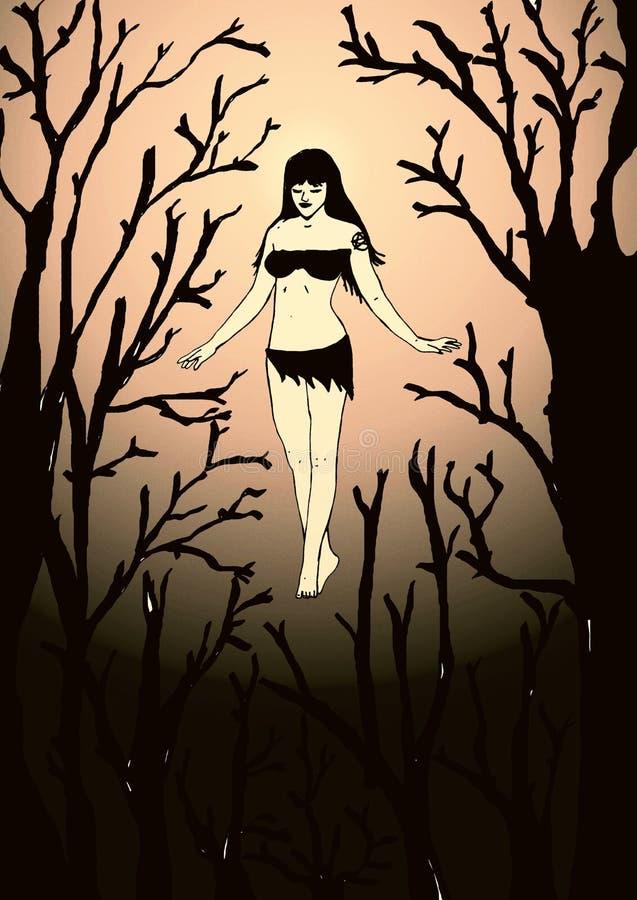 Bruja del vintage en el bosque ilustración del vector
