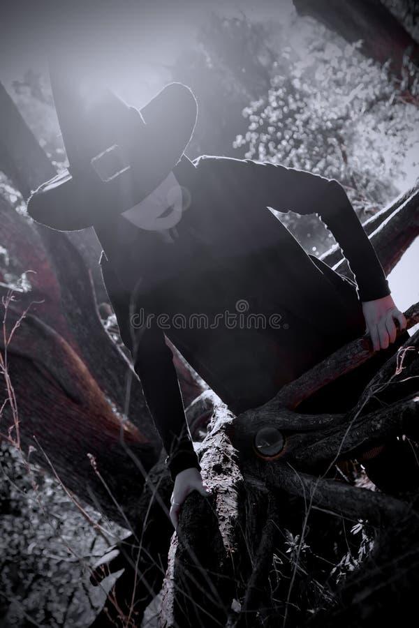Bruja en bosque acentuado negro del sombrero fotos de archivo libres de regalías