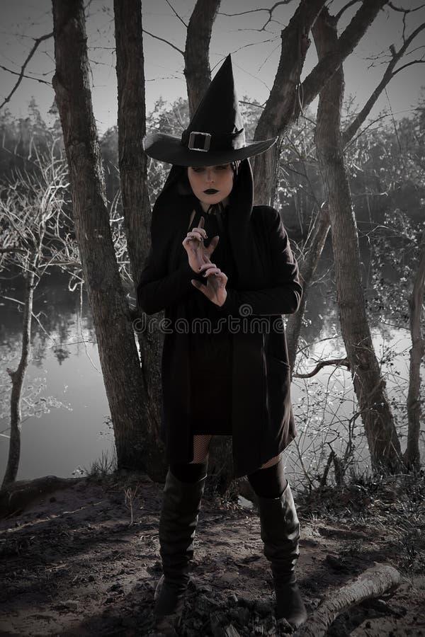 Bruja en bosque acentuado negro del sombrero imágenes de archivo libres de regalías