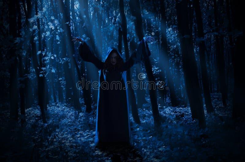 Bruja en bosque de la noche imágenes de archivo libres de regalías