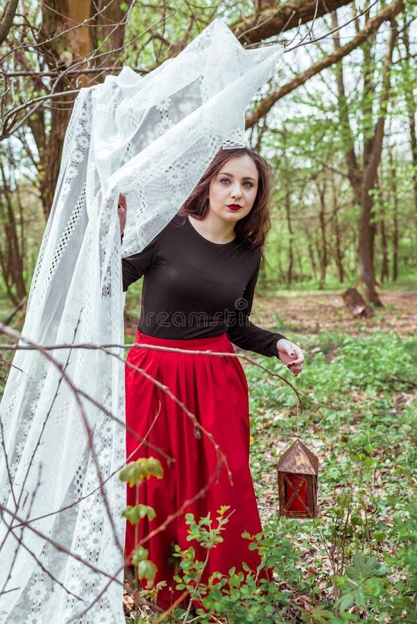 Bruja en el bosque con una linterna fotografía de archivo
