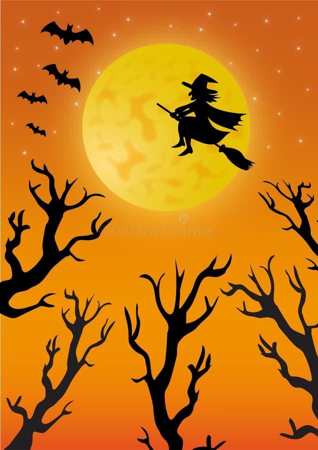 Bruja en el vuelo de la escoba delante de la Luna Llena stock de ilustración