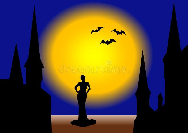 Bruja en la noche de Halloween stock de ilustración