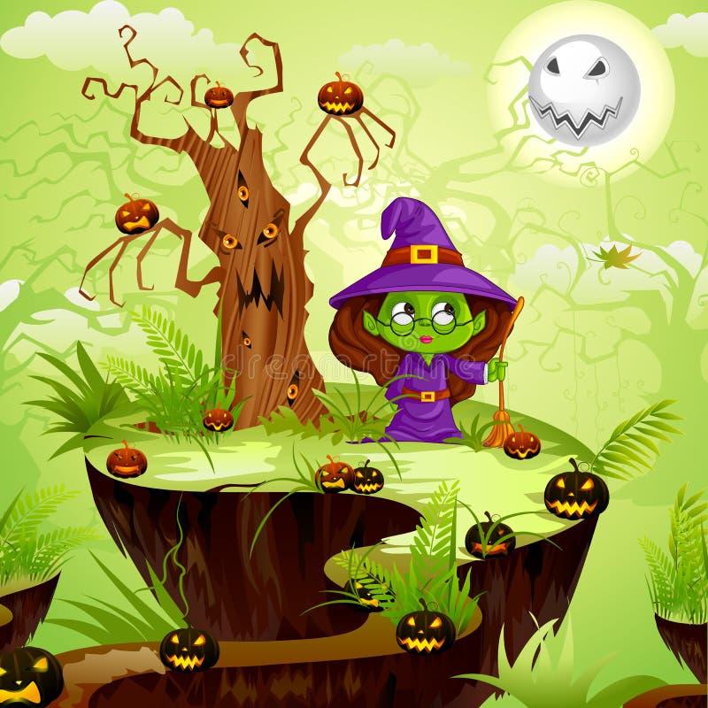 Bruja en la tierra de Halloween ilustración del vector