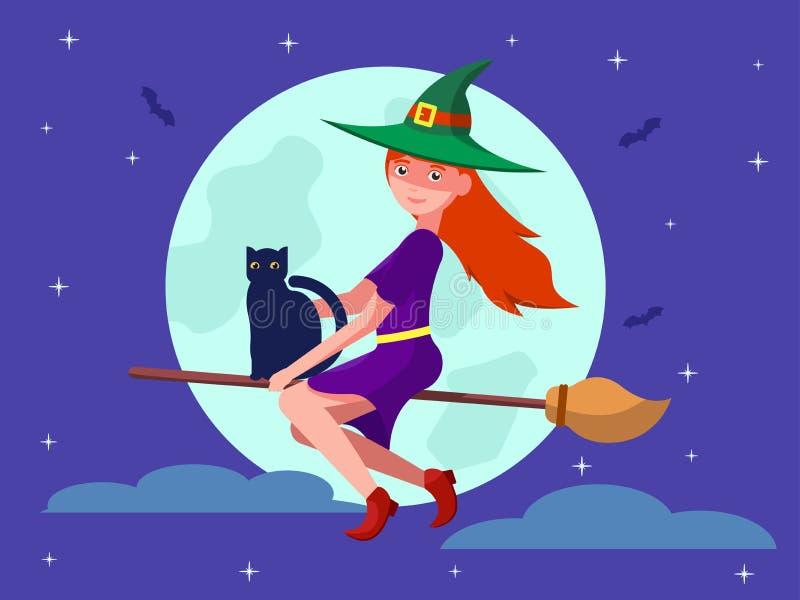 Bruja en un palo de escoba con un gato negro stock de ilustración