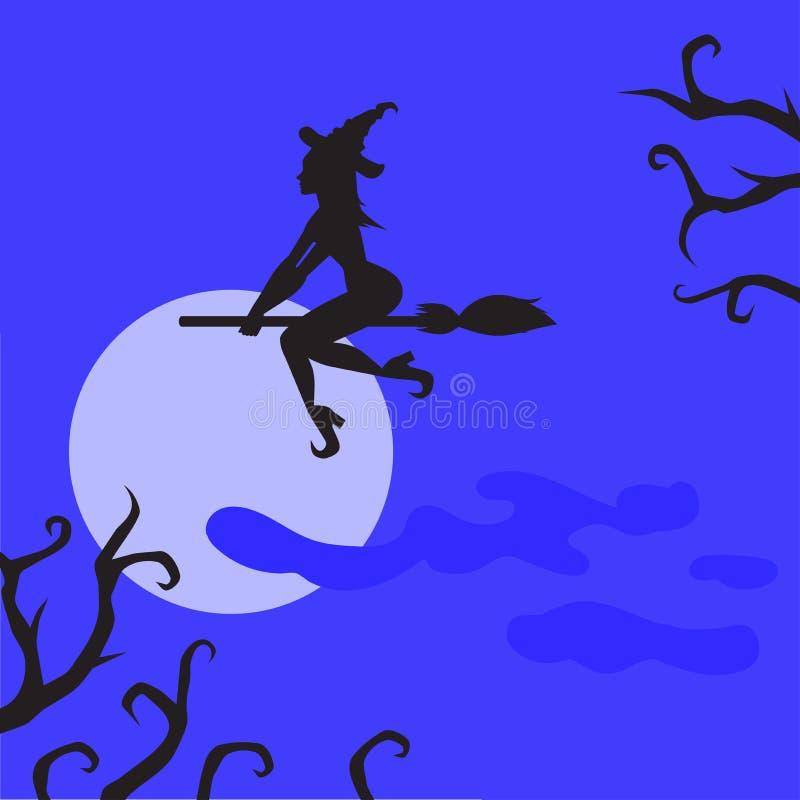 Bruja espeluznante plana de Halloween en la celebración de la tarjeta de felicitación de la escoba Silueta fantasmagórica de la m stock de ilustración