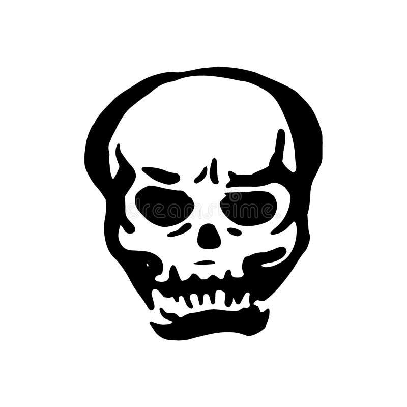 Bruja exhausta de la mano del vector y ejemplo mágico del cráneo del artículo en el fondo blanco ilustración del vector