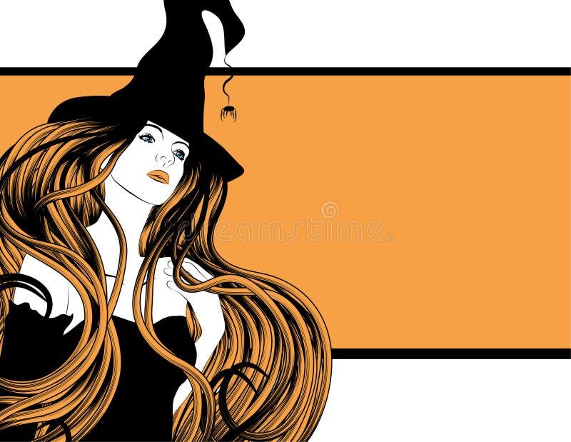 Bruja hermosa con el pelo largo ilustración del vector