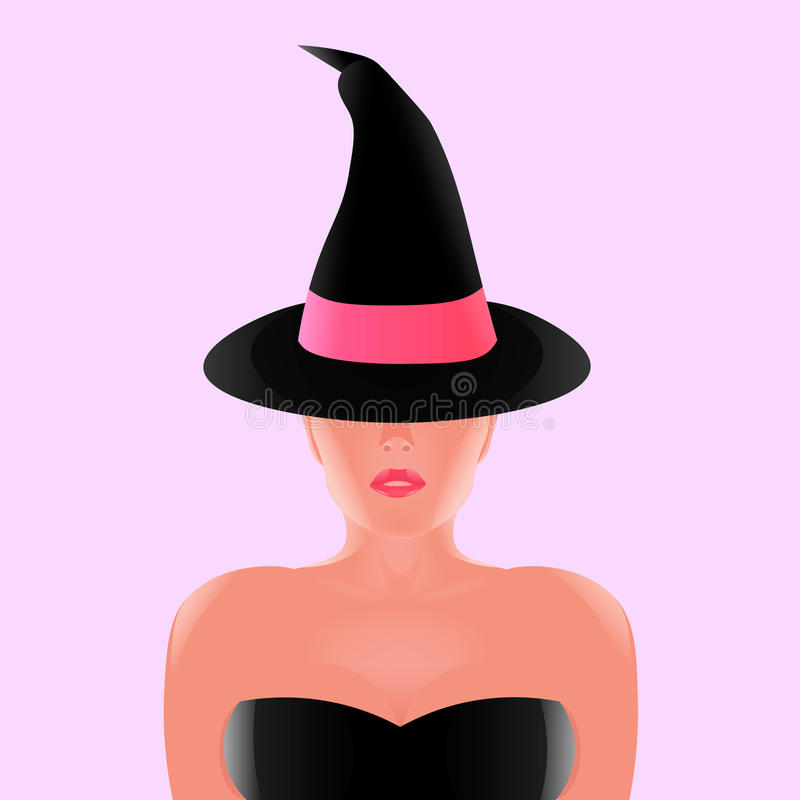 Bruja hermosa en sombrero negro con la cinta rosada, stock de ilustración