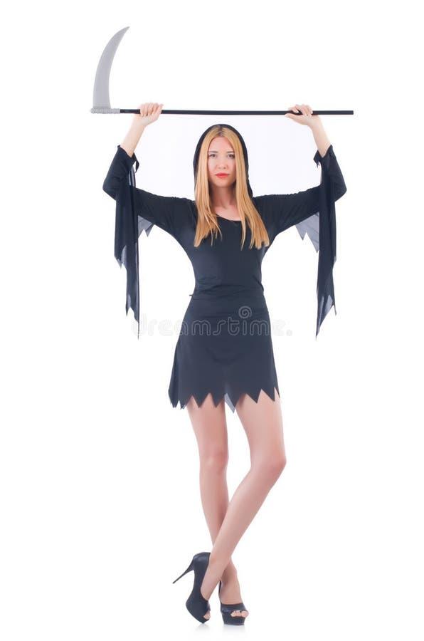 Bruja joven con la guadaña imagenes de archivo