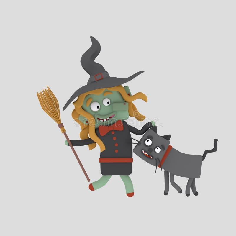Bruja joven con su gato 3d ilustración del vector