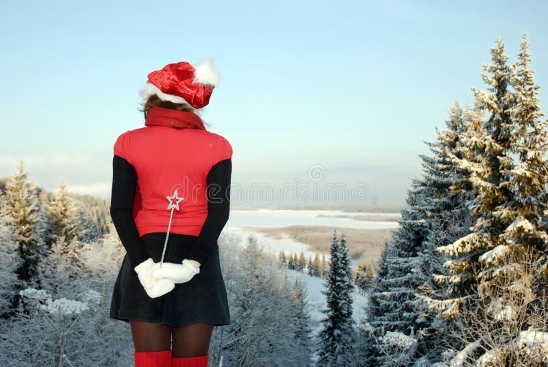 Bruja joven de la Navidad fotografía de archivo libre de regalías