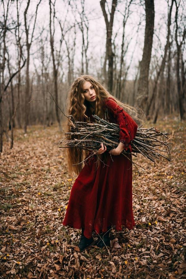 Bruja joven en el bosque del otoño foto de archivo