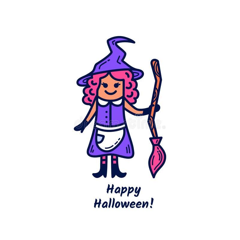 Bruja linda con el palo de escoba y con el feliz Halloween de la frase ilustración del vector