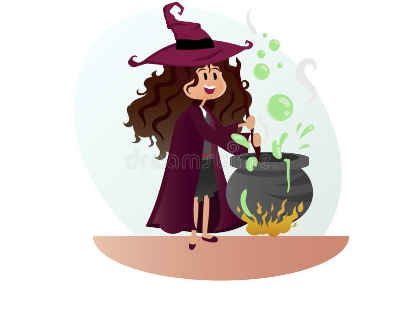 Bruja para el vector del partido de Halloween fotos de archivo libres de regalías