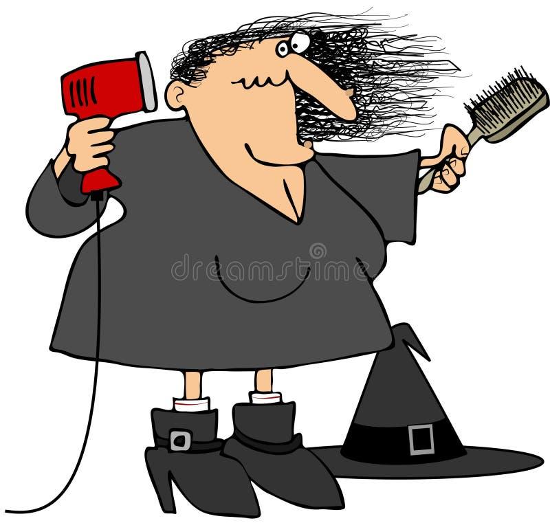 Bruja que hace el brushing su pelo libre illustration