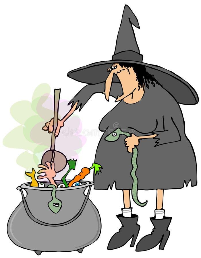 Bruja que hace la sopa en una caldera ilustración del vector