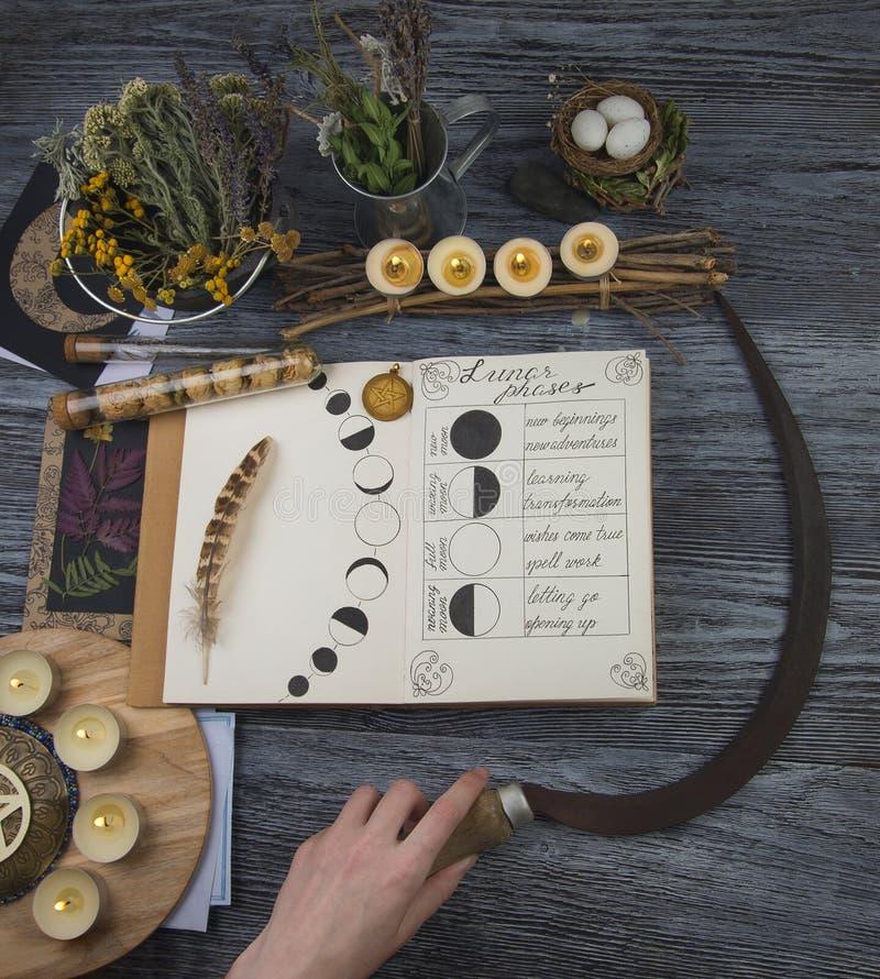Bruja que se prepara para el ritual de la luna imagen de archivo libre de regalías