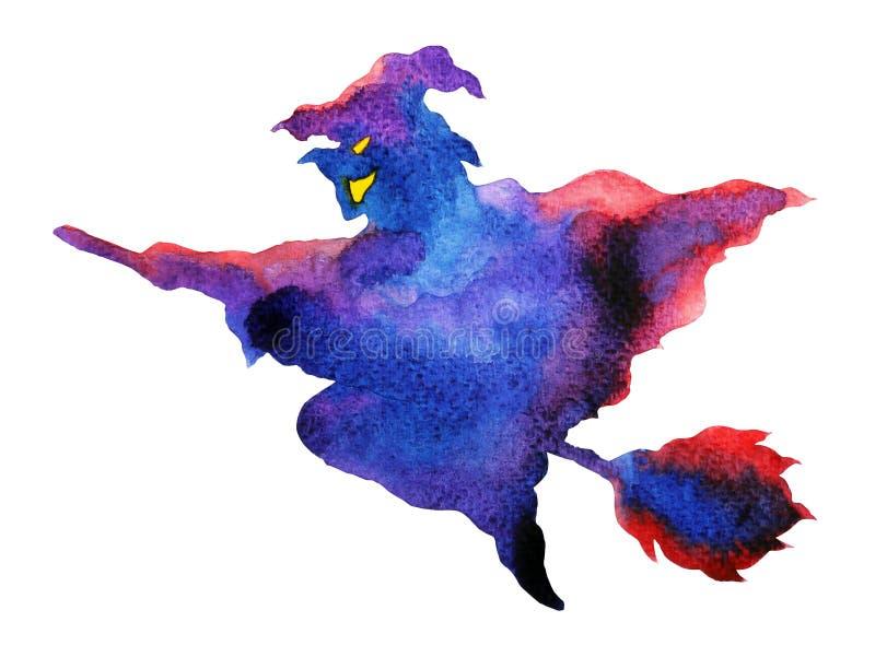 Bruja que vuela la mano de la pintura de la acuarela del partido de la noche de Halloween dibujada ilustración del vector