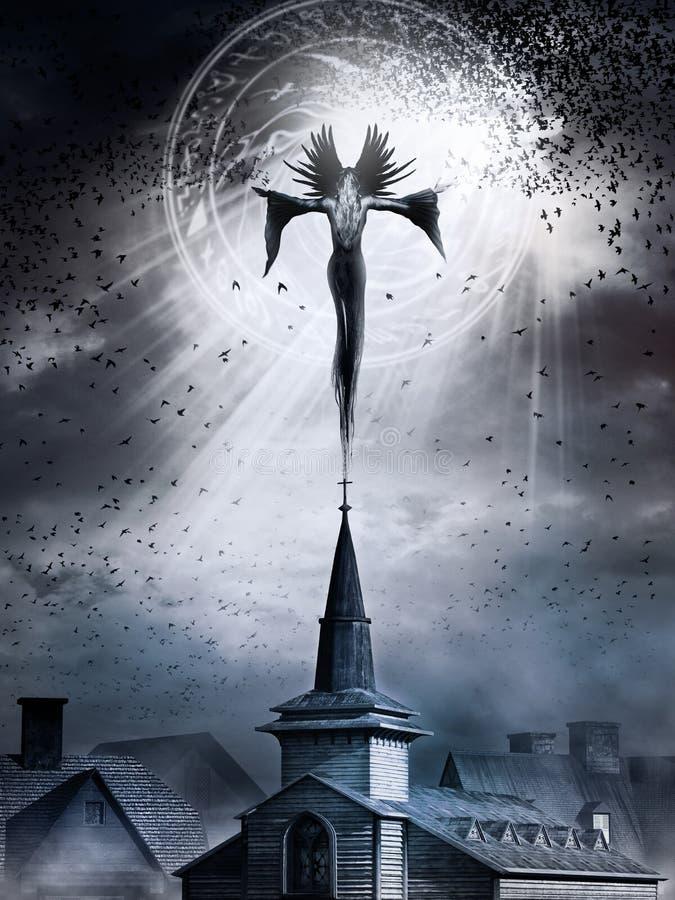 Bruja sobre torre de iglesia ilustración del vector