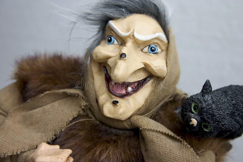 Bruja vieja con el tomcat imagen de archivo libre de regalías