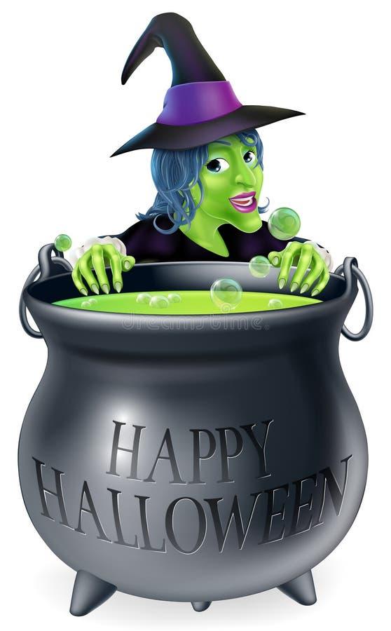 Bruja y caldera de Halloween ilustración del vector