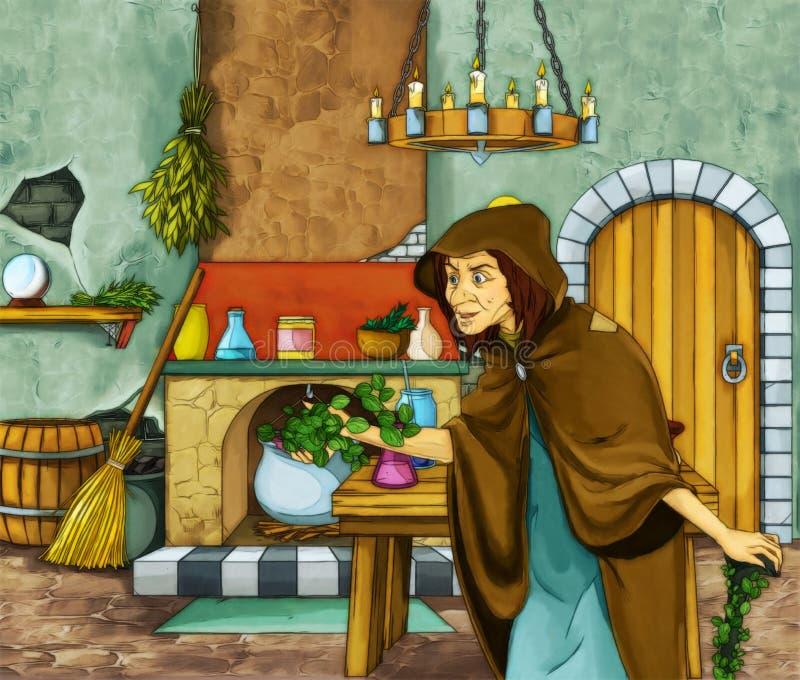 Bruja y el cazador en viejo sitio stock de ilustración