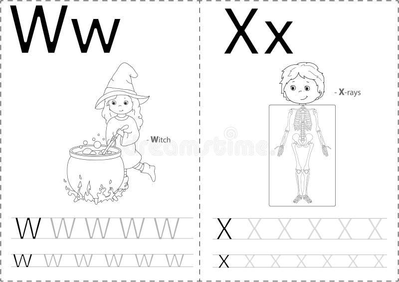 Bruja y radiografías de la historieta Hoja de trabajo de trazado del alfabeto ilustración del vector