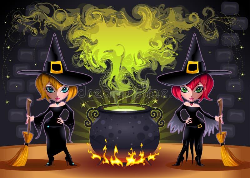 Brujas divertidas con el crisol. stock de ilustración