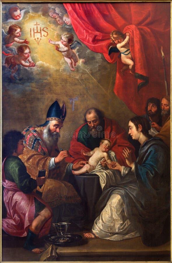 Brujas - la circuncisión de Jesús de Petrus Pourbus (1524-1584) en la iglesia de St Giles (Sint Gilliskerk) foto de archivo
