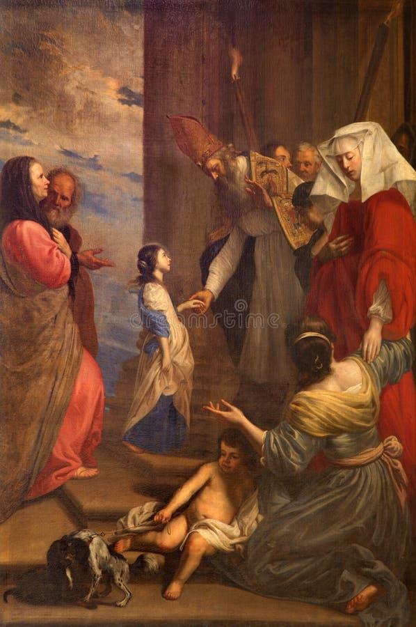 Brujas - la presentación de la Virgen María en el templo de Jan van Oost (1655) de la iglesia del st Jacobs (Jakobskerk) fotos de archivo