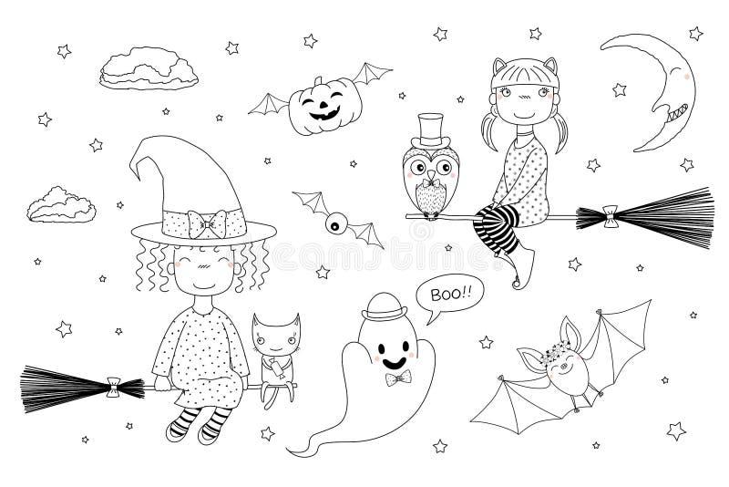 Brujas lindas que colorean las páginas ilustración del vector