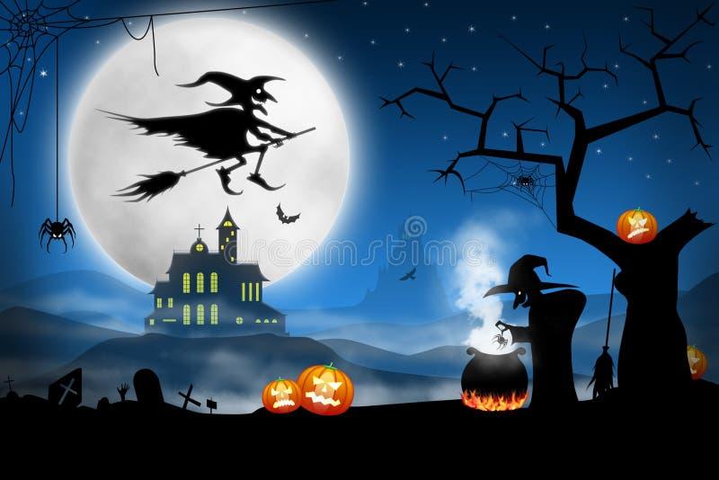 Brujas que cocinan la sopa del palo en cementerio brumoso stock de ilustración