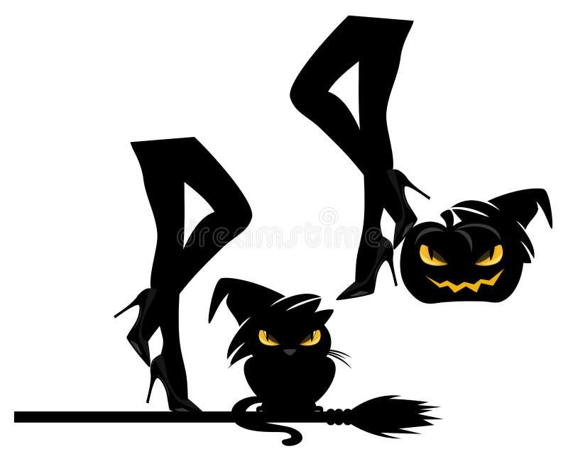 Brujas que hacen el diseño del vector del partido de Halloween fijar ilustración del vector