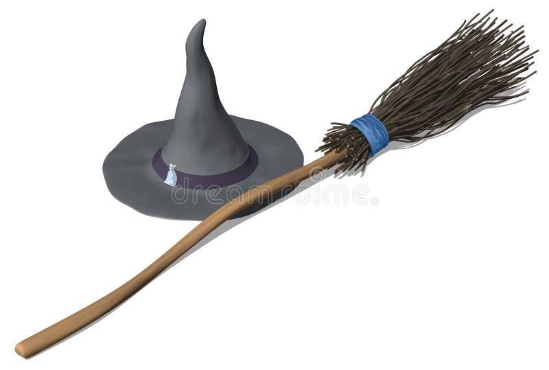 Brujas sombrero y escoba libre illustration