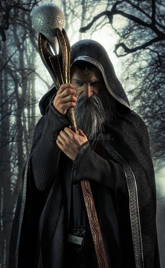 Brujo malvado que presenta en un bosque oscuro encantado ilustración del vector