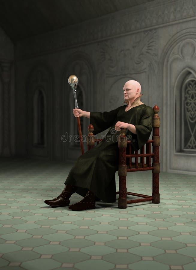 Brujo que se sienta en su Throneroom stock de ilustración