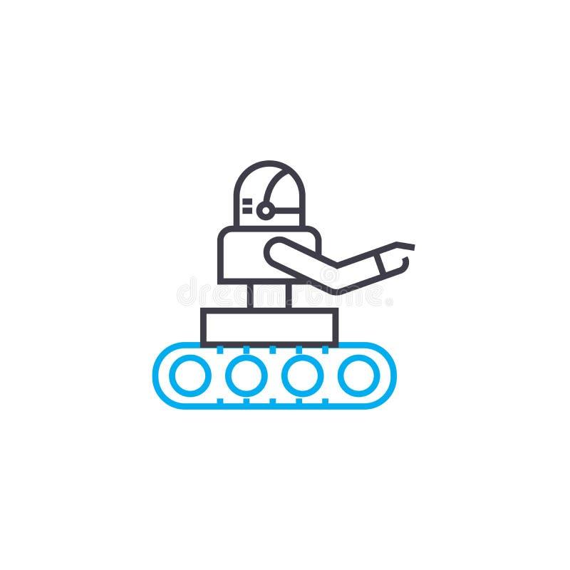Bruk av det linjära symbolsbegreppet för robotar Bruk av robotar fodrar vektortecknet, symbolet, illustration royaltyfri illustrationer