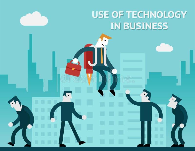 Bruk av teknologi i affär royaltyfri illustrationer