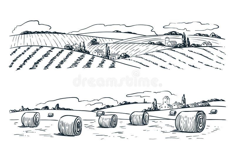 Bruka fält landskap, skissar vektorn illustrationen Jordbruk- och plockningtappningbakgrund Lantlig natursikt stock illustrationer