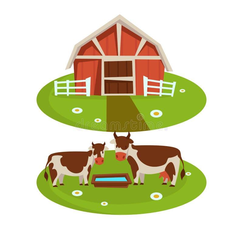 Bruka husladugården eller bondejordbruk och nötkreatur som brukar plana tecknad filmsymboler royaltyfri illustrationer