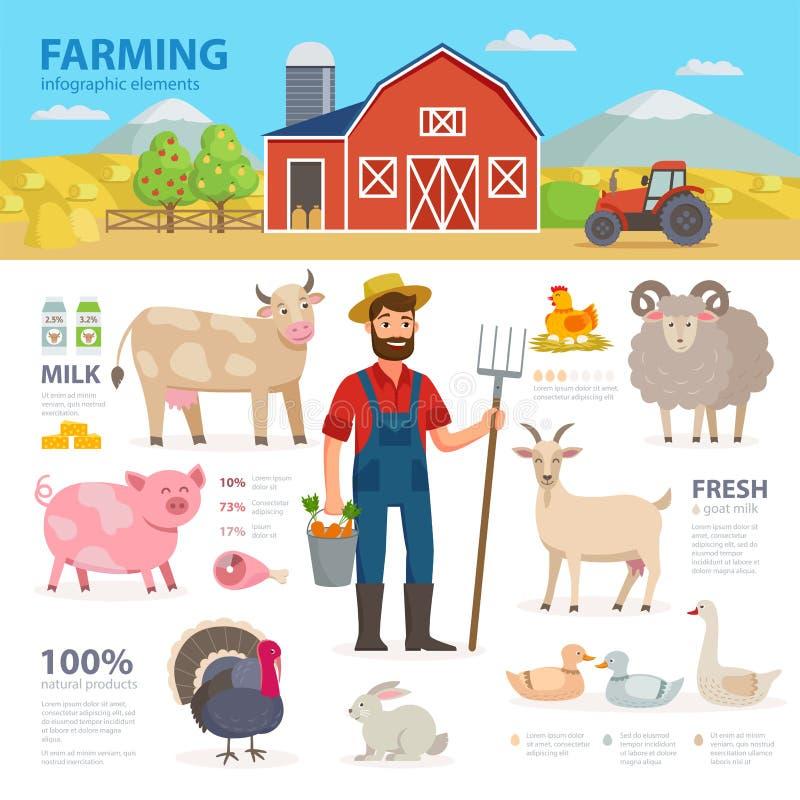 Bruka infographic beståndsdelar Bonden lantgårddjur, utrustning, ladugården, traktor, landskap den stora uppsättningen av vektorl royaltyfri illustrationer