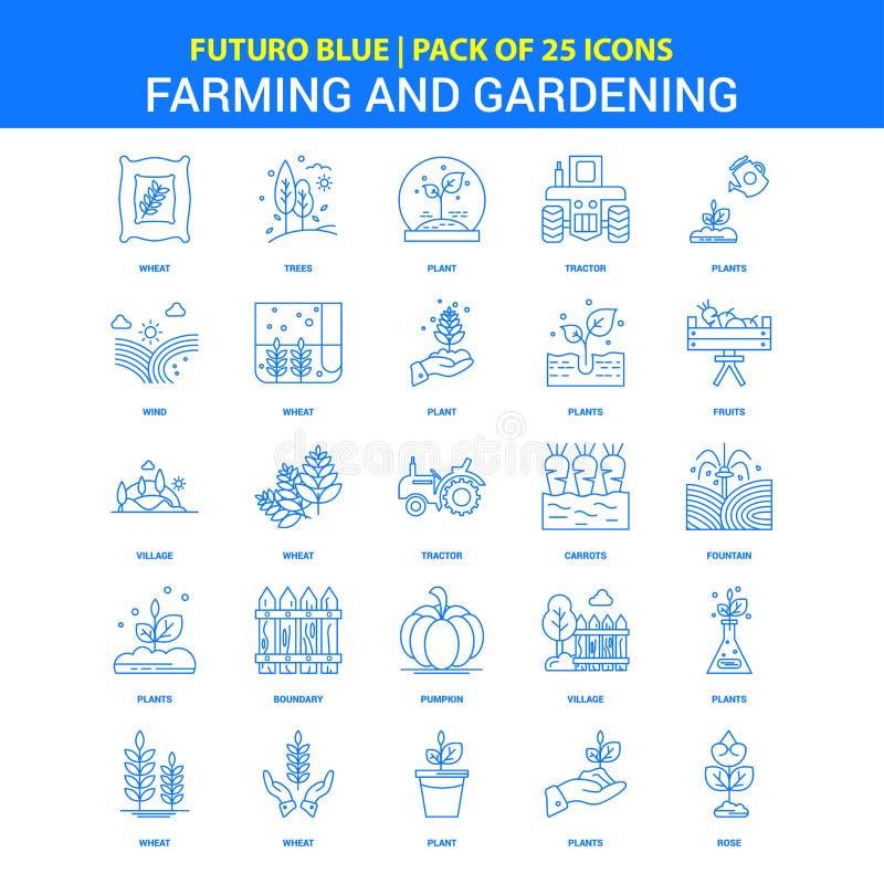Bruka och arbeta i trädgården symboler - packe Futuro blå för 25 symbol vektor illustrationer