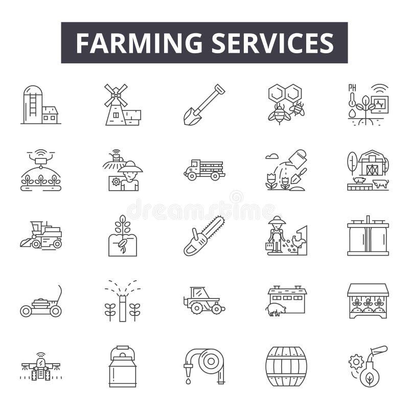 Bruka service fodra symboler, tecken, vektoruppsättningen, översiktsillustrationbegrepp vektor illustrationer