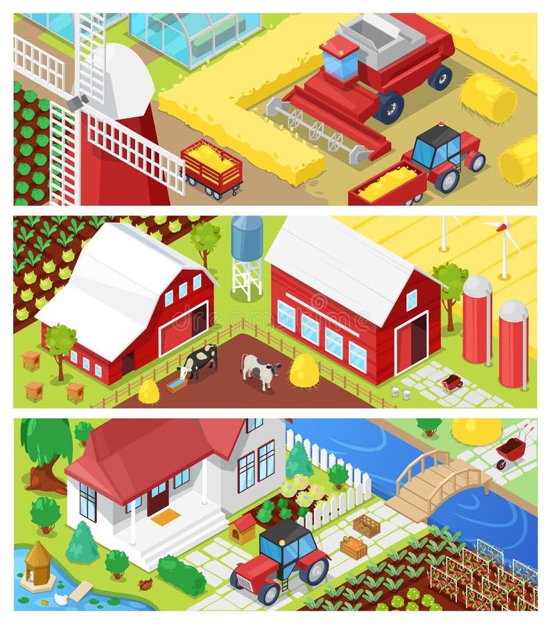 Bruka vektorlantbrukjordbruk i fält och den jordbruks- uppsättningen för lantbrukarhemillustration av det lantliga huset på jordb royaltyfri illustrationer