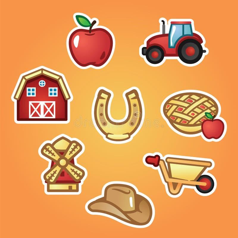 Brukar plana klistermärkear för uppsättning huset och traktoren som brukar väderkvarnen, hatten, hästskon, den lantliga skottkärr royaltyfri illustrationer
